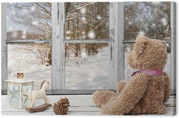 Obraz na Płótnie Miś i koń na biegunach, patrząc na śnieżny dzień