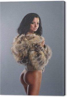 Obraz na Płótnie Młoda seksowna kobieta w ładnym sprawny bieliźnie na szarym tle