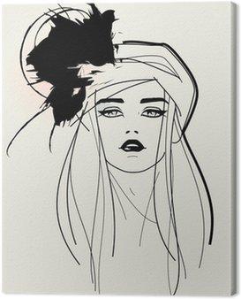 Obraz na Płótnie Model twarzy / elegancki wygląd Fashion