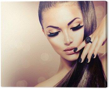 Obraz na Płótnie Modelka piękna dziewczyna z długimi brązowe włosy zdrowe