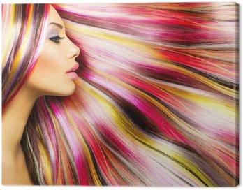 Obraz na Płótnie Modelka piękna dziewczyna z kolorowych włosów farbowanych