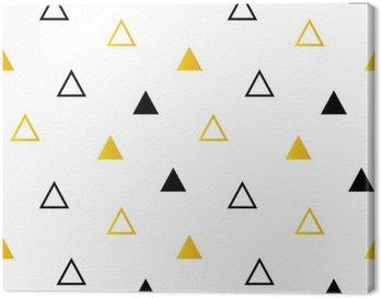 Obraz na Płótnie Modne czarne i złote trójkąty na białym bezszwowe tło wzór.