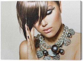 Obraz na Płótnie Mody glamour piękna dziewczyna z stylowe fryzura i makijaż