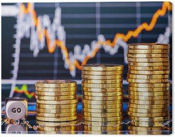 Obraz na Płótnie Monet stosy trendzie wzrostowym, kostka kostka z napisem GO na financí