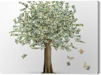 Obraz na Płótnie Money Tree z notatkami Dolar amerykański bank w miejsce liści.