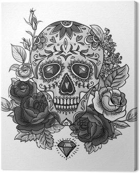 Monochromatyczny Czaszka, diamentów i kwiaty karty