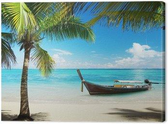 Obraz na Płótnie Morze, palmy kokosowe i łodzi
