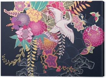 Obraz na Płótnie Motyw kwiatów ozdobnych kimono