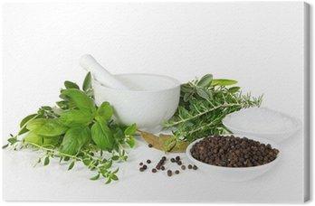 Obraz na Płótnie Moździerz i tłuczek z pobrane świeże zioła