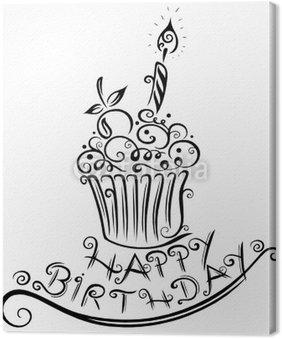 Obraz na Płótnie Muffin, urodziny, z okazji urodzin, wektor, czarny