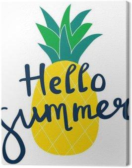 Napis Witaj lato żółty ananas ilustracji wektorowych