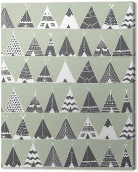 Obraz na Płótnie Native American Teepee Ilustracja namiot latem.