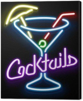 Obraz na Płótnie Neon Szkło Cocktail