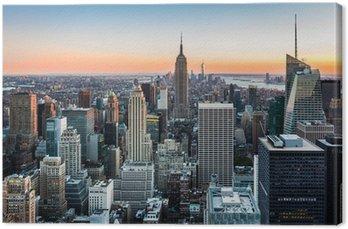 Obraz na Płótnie New York skyline o zachodzie słońca