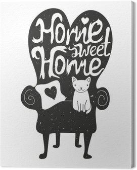 Obraz na Płótnie Nie ma to jak w domu. ilustracji wektorowych z biały kot siedzi na czarnej kanapie
