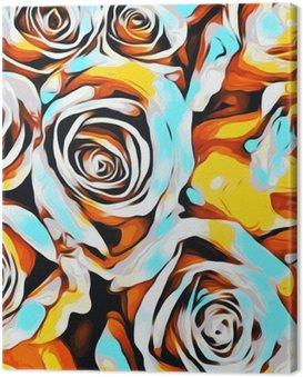 Obraz na Płótnie Niebieski Pomarańczowy białe i żółte róże tekstury abstrakcyjne t?