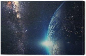 Obraz na Płótnie Niebieski wschód słońca, widok Ziemi z przestrzeni kosmicznej z Drogi Mlecznej