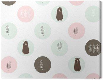 Obraz na Płótnie Niedźwiedź i lasów bezszwowe tło. wektora projektowania ilustracji.