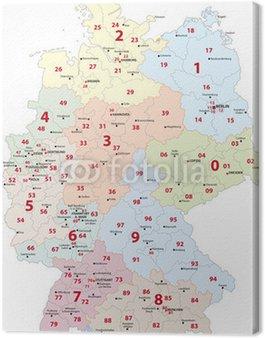 Obraz na Płótnie Niemcy Kod pocztowy mapie