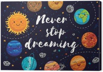 Obraz na Płótnie Nigdy nie przestawaj marzyć. Motywacja ilustracji wektorowych