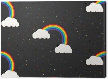 Nocne niebo fantazji dzieciak szwu. konfetti gwiazdy, chmury i tęcza chłopiec szary wzór tapety i tkaniny.