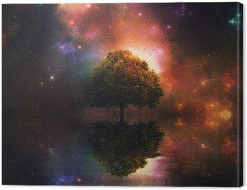 Obraz na Płótnie Nocne niebo i drzewa