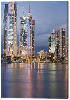 Obraz na Płótnie Nowoczesne miasto o zmierzchu (Gold Coast, Queensland, Australia)