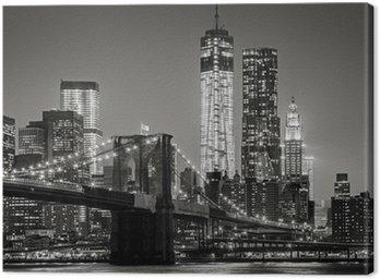 Obraz na Płótnie Nowy Jork nocą. Brooklyn Bridge, Lower Manhattan - czarny
