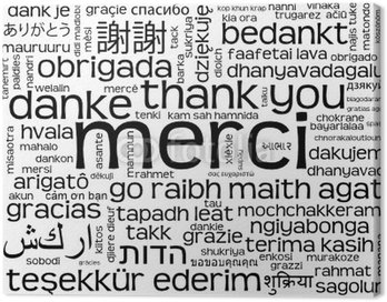 """Obraz na Płótnie Nuage Tagi de """"Merci"""" (komunikat dziękuję danke gracias)"""