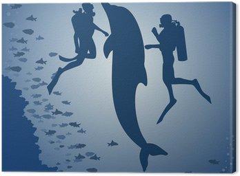 Obraz na Płótnie Nurków i delfin