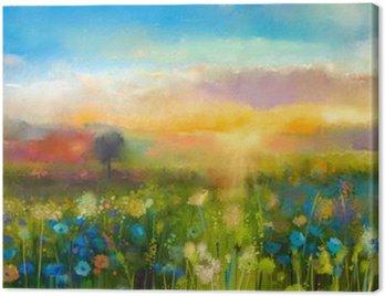 Obraz olejny kwiaty mniszka lekarskiego, chaber, stokrotka na polach. Zachód słońca krajobraz z łąki Dziki, wzgórza i niebo w kolorze pomarańczowym i niebieskim kolorem tła. Farba rąk letnich kwiatów w stylu impresjonistycznym