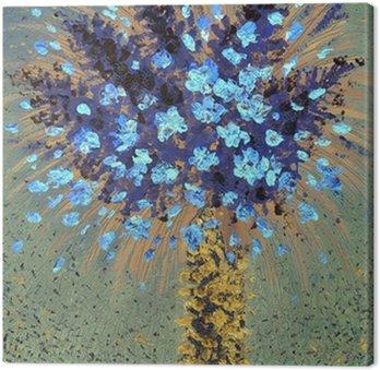 Obraz na Płótnie Obraz olejny. niebieskie kwiaty w żółtym wazonie