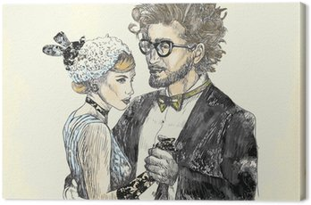Obraz tańca klasycznego - młoda para zakochanych tańczących.