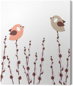 Obraz na Płótnie Oddziałów Pussy Willow z małymi ptaków stylizowane