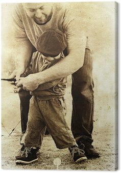 Obraz na Płótnie Ojciec i syn grają w golfa.