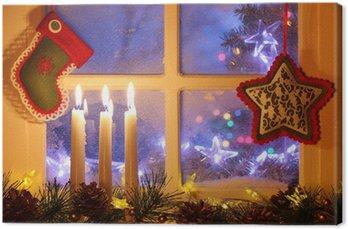Obraz na Płótnie Okno matowy z dekoracji świątecznej