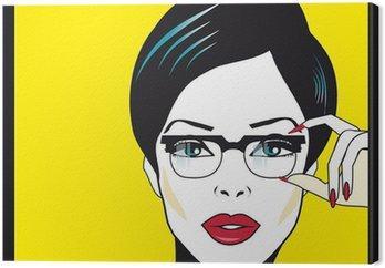 Obraz na Płótnie Okulary okulary portret kobiety zbliżenie. Kobieta ma na sobie okulary ho