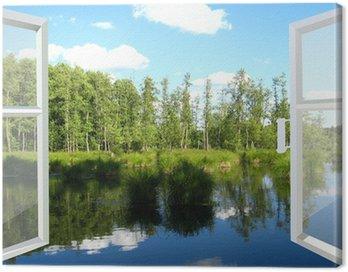 Obraz na Płótnie Otwarte okno na polu latem