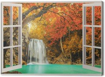 Obraz na Płótnie Otwarte okno, z widokiem na wodospad