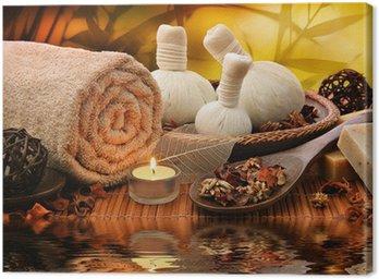 Obraz na Płótnie Outdoor masaż spa ustawienie na zachód słońca przy świecach