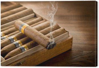 Obraz na Płótnie Paląc kubańskie cygara na polu na tle drewna