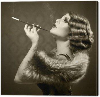 Obraz na Płótnie Palenie retro kobieta. rocznika stylu czarno-białe zdjęcie
