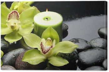 Obraz na Płótnie Palenie świec i zen kamienie z żółtym orchidea
