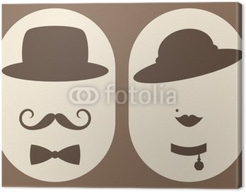 Obraz na Płótnie Pani i pan symbolem retro