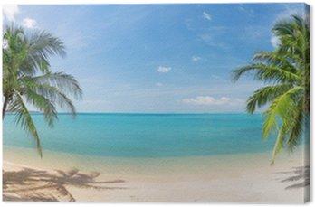 Obraz na Płótnie Panoramiczne tropikalnych plaża z palmy kokosowej
