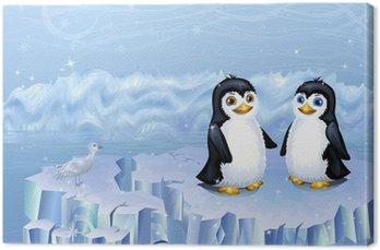 Obraz na Płótnie Para pingwinów siedzi na krze