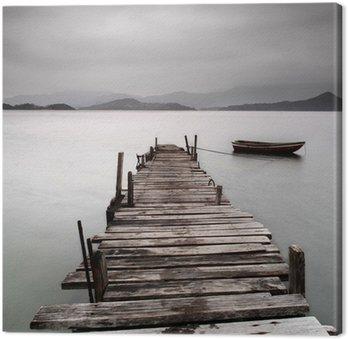 Obraz na Płótnie Patrząc na molo i łodzi, niskie nasycenie