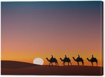 Obraz na Płótnie Paysage_Desert_Dromadaire_crépuscule