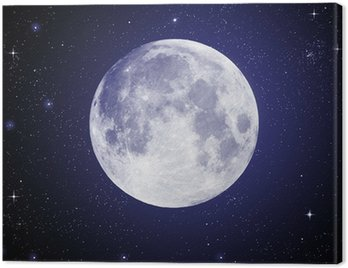 Obraz na Płótnie Pełnia w wysokiej rozdzielczości z gwiazdami w tle