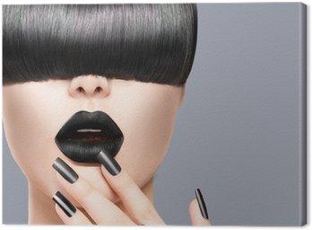 Obraz na Płótnie Piękna Dziewczyna Portret z modnych fryzur, czarny usta i paznokcie